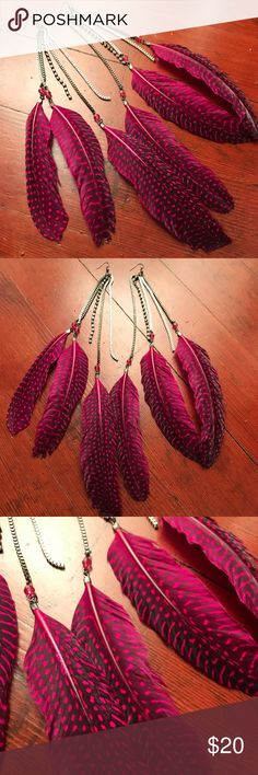 "Bebe Long Pink Feather & Rhinestone Earrings Long Pink Rhinestone Feather Earrings Silver Boho Tribal Jewelry Festival Raver  Gorgeous long beaded pink feather earrings with rhinestone dangles. I believe these are from Bebe.  11"" Drop.  Excellent condition!  Please check out my Trixy Xchange Closet for more artisan jewelry & clothing!  J43  Tags: rave burning man edc edm psy hula hoop hooper bohemian boho raver bdsm festival clothing clothes bebe Jewelry Earrings"