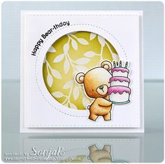 "Geburtstagskarte | birthday card - My Favorite Things ""Beary Special Birthday"", ""Jumbo Peek-a-Boo Circle Window"", Simon Says Stamp ""Stitched Rectangles"", Stampin Up ""Design Paper Irresistibly Yours 