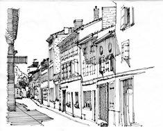 Chabanais, Rue Souchet. Ricepaper & ink. www.anneroseoosterbaan.nl urban sketcher