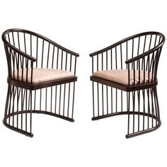 Rare Pair of Jack Lenor Larsen Black Lacquer Armchairs | From a unique collection of antique and modern armchairs at https://www.1stdibs.com/furniture/seating/armchairs/
