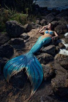 Merfolk on the Rocks - 1 by Wendy Appelman Photography, Model Mermaid Crystal… Fantasy Mermaids, Real Mermaids, Mermaids And Mermen, Mermaid Photo Shoot, Mermaid Pictures, Mermaid Fairy, Mermaid Tale, Manga Mermaid, Sublime Creature