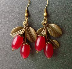 earrings Ripe berries. carnelian Gemstones.