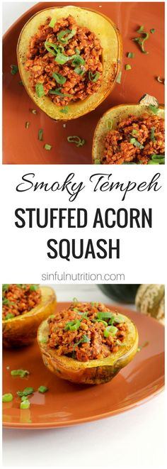 Smoky Tempeh Stuffed Acorn Squash — A hearty vegan recipe that's perfect for your holiday meal or dinner! You won't even miss the meat! | @sinfulnutrition #vegan