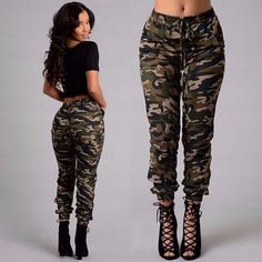 Cheap pants pajama, Buy Quality pants plus size women directly from China pants bodysuit Suppliers: ZANZEA Autumn 2016 Army Cargo Pants Women Camouflage Printed Pants Trousers Military Elastic Waist Pants Plus Size Army Cargo Pants, Cargo Pants Women, Trousers Women, Pants For Women, Clothes For Women, Harem Trousers, Army Jeans, Sport Pants, Womens Ripped Jeans
