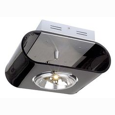 The Retrosix QRB 1 Clear Ceiling Spotlight in a Retro Style has a Black Finish with Brushed Aluminium Metal Work. SLV 147591