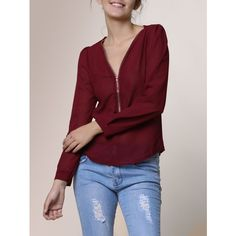 Stylish V Neck Long Sleeve Zipper Design Chiffon Solid Color Women s... ($14) ❤ liked on Polyvore featuring tops, blouses, v neck blouse, red v neck blouse, chiffon blouses, v neck long sleeve top and long sleeve chiffon top