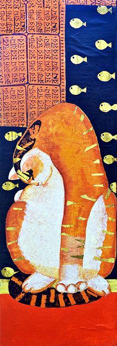 CAT POSE 4 .(Acrylic painting on canvas)by Kajori Ghoshal.