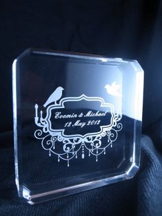 One inch thickness  Square 4 x 4 inches Acrylic thickness Wedding Cake Topper for wedding cake or Souvenir