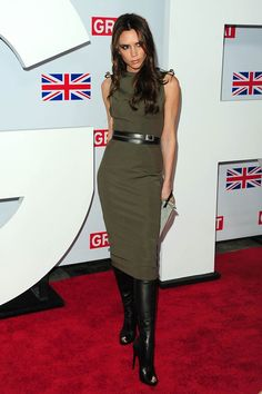 Victoria Beckham #greendress #boots