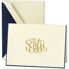 Classic monogrammed fold over notes - perfect for writing all those thank you notes for wedding gifts!