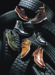 TREND: The Lug Sole: How This Season's Shoes and Boots Became All-Terrain Hybrids. Think: notched, thick rubber -- the clunkier, the better. Shoes Ads, Men's Shoes, Viking Shoes, Viking Footwear, Shoes Editorial, Editorial Design, Muck Boot Company, Shoe Advertising, Shoe Poster
