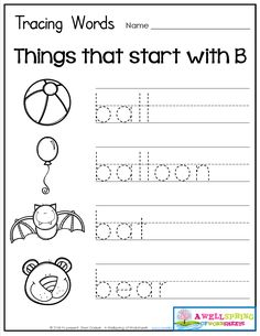 Tracing Words - Things that Start with A-Z Worksheets These worksheets are great for beginning letter recognition, letter formation, printing practice and vocabulary development. Cute graphics to go with each word! Shape Worksheets For Preschool, English Worksheets For Kids, English Lessons For Kids, Fun Worksheets, Alphabet Worksheets, Kindergarten Worksheets, Three Letter Words, Printing Practice, Kindergarten Language Arts
