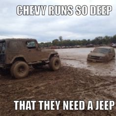 Jeep pulls chevy
