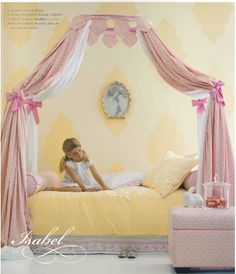Canopy bed for a girl's bedroom Girls Bedroom, Bed For Girls Room, Girl Bedroom Designs, Little Girl Rooms, Girls Canopy, Diy Canopy, Fabric Canopy, Canopy Curtains, Canopy Crib