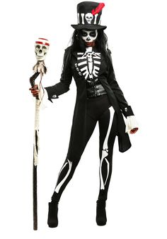Embrace your powerful side in this plus size women's voodoo skeleton costume. It's perfect for your next Halloween or Dia de los Muertos celebration.
