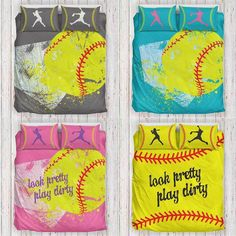 Softball Bedding Set (Limited Edition) Pillow inserts are not included. Features a single-sided full Softball Room Decor, Softball Decorations, Softball Crafts, Softball Mom, Fastpitch Softball, Softball Bedroom Ideas, Softball Stuff, Softball Quotes, Girls Softball Room