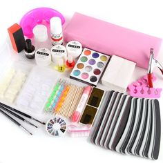 Nail Art UV Gel Topcoat Painting Brushes French Tips Clippers File Manicure Kit ** Check out this great product.