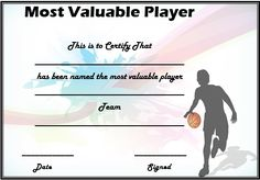 27 best basketball certificate template images on pinterest