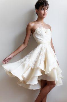 Ivory Italian Silk Organza Charmeuse Duchess Satin Marlowe Feminine Wedding Dress
