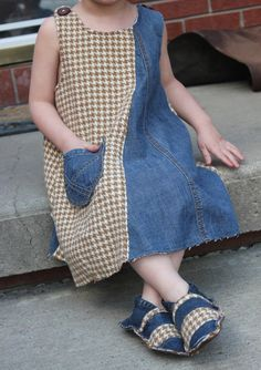 Wool and Denim Childrens Jumper from by YolisNest on Etsy, $30.00