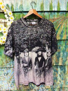 Vintage XL 90's Psychedelic BEATLES Shirt All Over Print Grunge Goth Field Hippie Lennon Glam Rare Bowie Dylan Velvet Underground Warhol