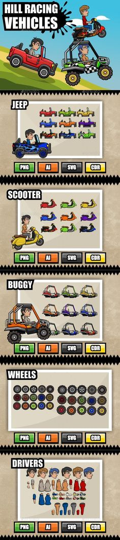Hill Racing Vehicles  A set of cartoon vehicles to create the 2d racing game of your dreams.  The package contains three vehicles: a jeep, a scooter and a buggy with 9 paint variations each, 30 wheels, and two drivers.