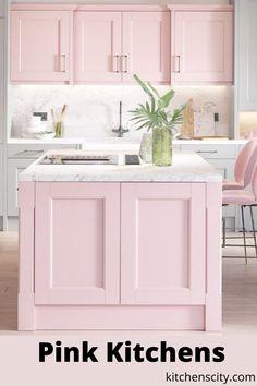 Pink Kitchen Cabinets, Pink Kitchen Decor, Kitchen Cabinet Colors, Interior Exterior, Kitchen Interior, Kitchen Design, Beach House Kitchens, Home Kitchens, Updated Kitchen