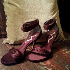 """Nina Satin Sandal. """"WHAT A DEAL !   NWOT Aubergine sandal with vamp & elastic ankle straps adorned with gemstones. 4"""" heel  - 1/2"""" platform. Shoes"""