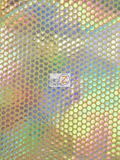 HOLOGRAPHIC DOTTED 70'S APPAREL SPANDEX FABRIC - Yellow/Holo - BY YARD COSTUME #BIGZFABRIC