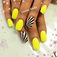 Neon Yellow Nail Designs Gallery black and white accent nails to bright yellow polish nail Neon Yellow Nail Designs. Here is Neon Yellow Nail Designs Gallery for you. Get Nails, Fancy Nails, Trendy Nails, Yellow Nails Design, Yellow Nail Art, Colorful Nail Designs, Nail Art Designs, Fingernail Designs, Nail Factory