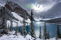 a fresh snowfall at Morraine Lake in the Valley of the Ten Peaks, Banff National Park, Alberta, Canada