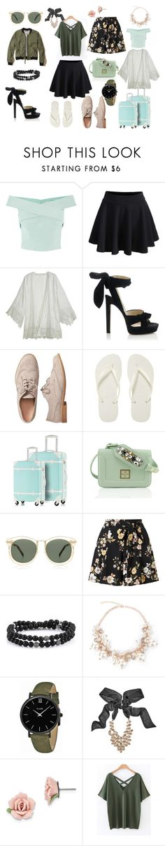 Na podróż by mirela-ce on Polyvore featuring moda, Calypso St. Barth, Hollister Co., Miss Selfridge, WithChic, Jimmy Choo, Gap, Havaianas, CLUSE and GUESS by Marciano