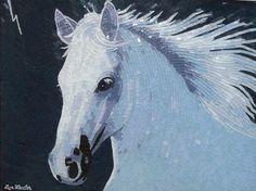"""The smell of rain"" - white horse glass mosaic and micro mosaic art | lizawheeler - Mosaics on ArtFire"