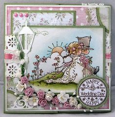 Today I have a couple of romantic cards to show you, using some adorable stamps from Lili of the Valley :) First one up . Wedding Anniversary Cards, Wedding Cards, Wedding Stuff, Wedding Invitations, Ladybug Crafts, Happy Wedding Day, Romantic Cards, Hobby House, Engagement Cards