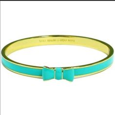 """kate spade """"Take A Bow Bangle"""" NWOT Got as a gift but my wrists are too small for bangles. I never ever got to wear this. Gold tone. Color is Giverny Blue. It's like a deep turquoise blue. Comes with dust bag. Price firm no trades or Paypal!!! kate spade Jewelry Bracelets"""