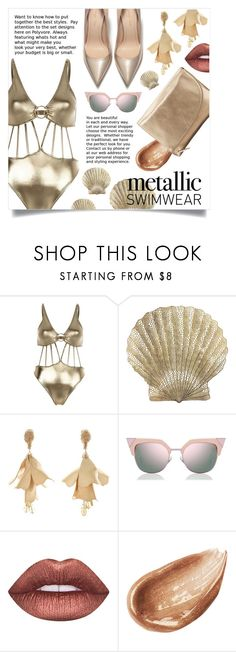 """stay golden"" by hnfaulia ❤ liked on Polyvore featuring River Island, Benson Mills, Oscar de la Renta, Fendi, Lime Crime, Jouer and Elaine Turner"