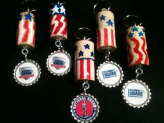 Key rings made from natural corks with a variety of National Guard and KY National Guard bottle cap charms. For more information or to place an order email: yorkscorks@gmail.com