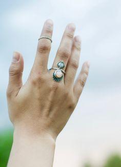 Opal Moonstone Ring