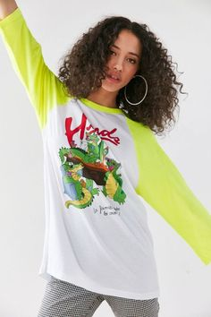 Hinds Long-Sleeve Baseball Tee @ Band Tees Band T-Shirts Oversized Graphic Tee, Baseball Tee Shirts, T Shirts For Women, Clothes For Women, Band Tees, Crew Neck Sweatshirt, Urban Outfitters, Fitness Models, Long Sleeve Tees