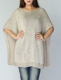 Hand knitted Poncho/ capelet in wheat eco cotton by MaxMelody