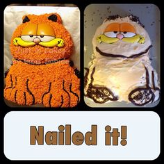I picked up a Garfield cake mold today at a yard sale & we nailed it!