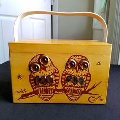 Vintage 70s Enid Collins of Texas Box Bag Owls Owlets The Original Wooden Purse #EnidCollins #Purse