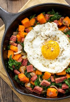 Corned Beef, Sweet Potato, and Kale Hash from RecipeRunner.com