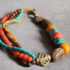 3-way necklace of horn, amber, turquoise and coral with vintage African bronze beads