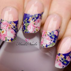 Nail WRAPS Nail Art Water Transfers Decals French Pink Blue Rose Nail Tips Y61 on Etsy, $3.84