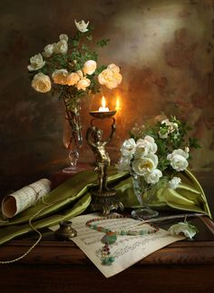 Still life with roses and candle - 2 - null