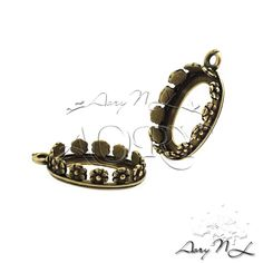 1pcs Oxidized Brass Flower Crown Bezel Setting for by AoryNL