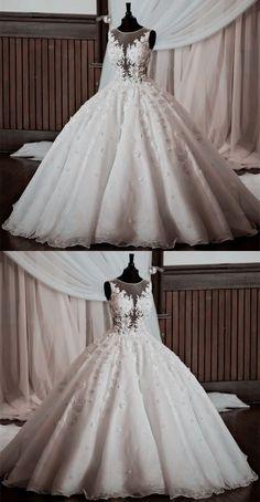 Vintage Illusion Neckline Lace Wedding Dresses Ball Gowns