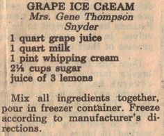 Replace milk with almond milk, whipping cream with goat cheese+goat yoghurt or greek yoghurt, or coconut cream , replace sigar with honey/stevia Ice Cream Toppings, Ice Cream Desserts, Frozen Desserts, Ice Cream Recipes, Frozen Treats, Goat Milk Recipes, Grape Recipes, Old Recipes, Vintage Recipes
