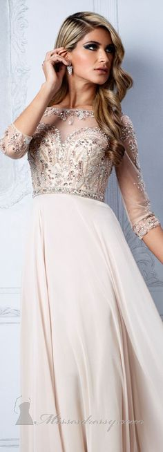 Beaded Bateau Neckline Gown by Terani Couture Evening <3